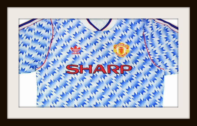 Man Utd, away kit, 1992, adidas, snowflake