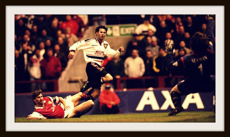 Giggs, wonder goal, Manchester United, 1990s, away kit, white