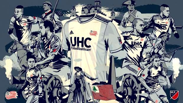 New England Revolution Colonial kit launch artwork