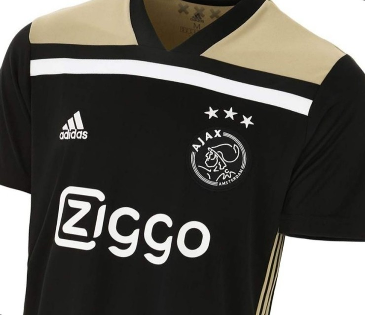 Ajax, away, Kit, black, gold