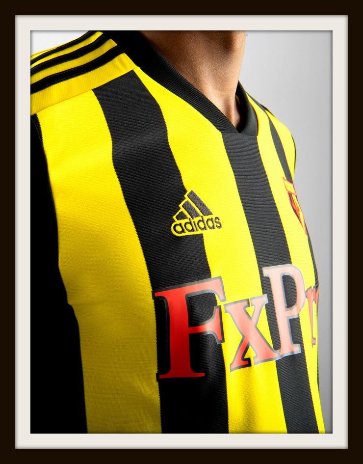 Watford, home, Kit, Hornets, Adidas, yellow, black, stripes