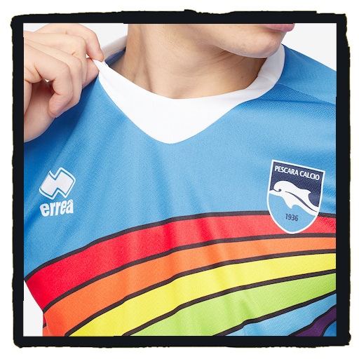 Pescara, Errea, dolphin, rainbow, Covid, pandemic, competition, shirt