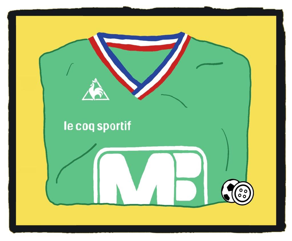 St Etienne, Le Coq Sportif, 1976, 70s, kit, Manufrance, shirt, maillot