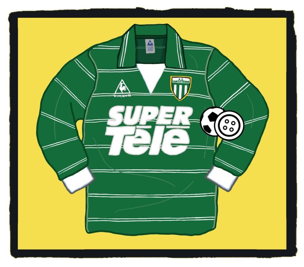 St Etienne, Le Coq Sportif, 1980, kit, Super Tele, shirt, maillot