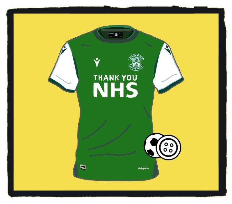 Hibernian, NHS, football shirt, Macron, 2020-21