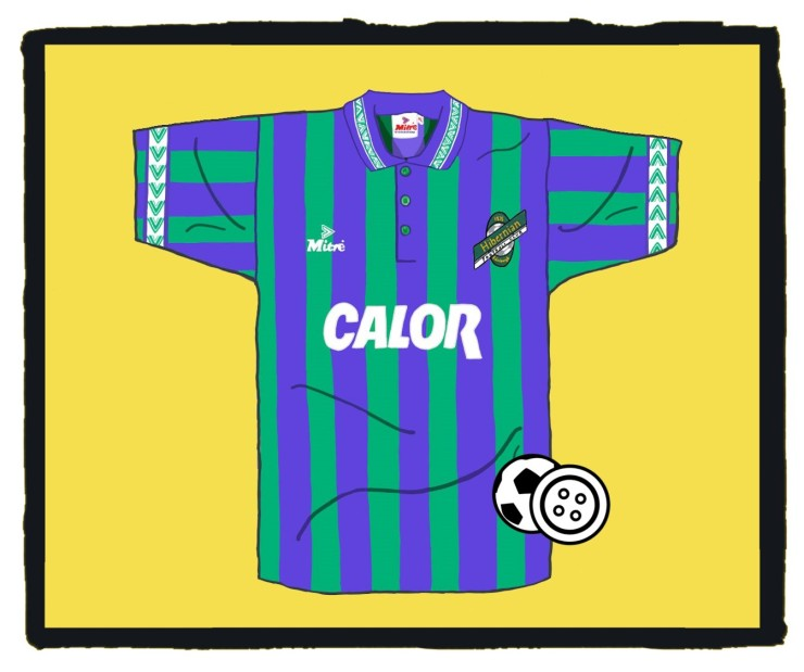 Hibernian, Hibs, Mitre, Calor, Away, Shirt, 1994-96