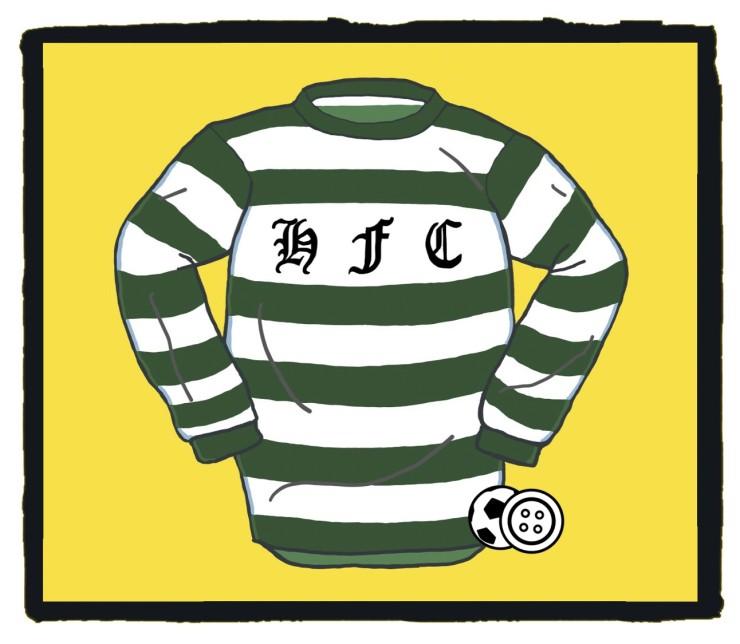 Hibernian, football, club, shirt, Green, original, 1875, Ireland, Edinburgh