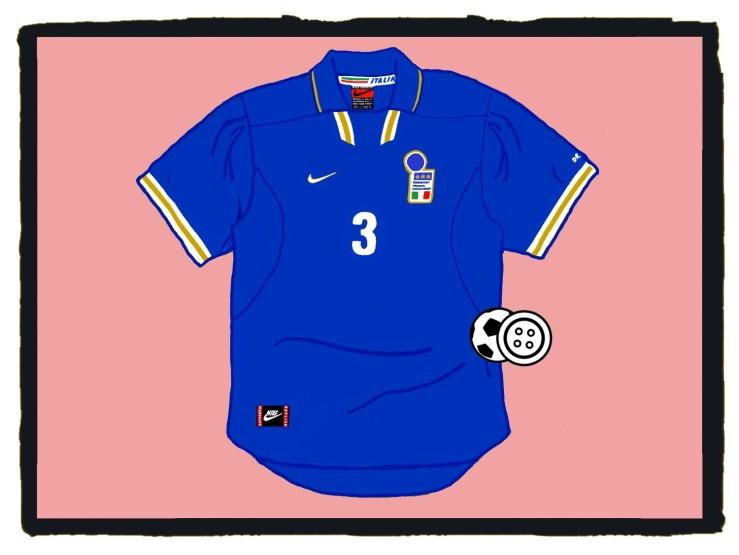 Italy, Italia, Nike, Maglia, Euro '96, Maldini, 1996-97
