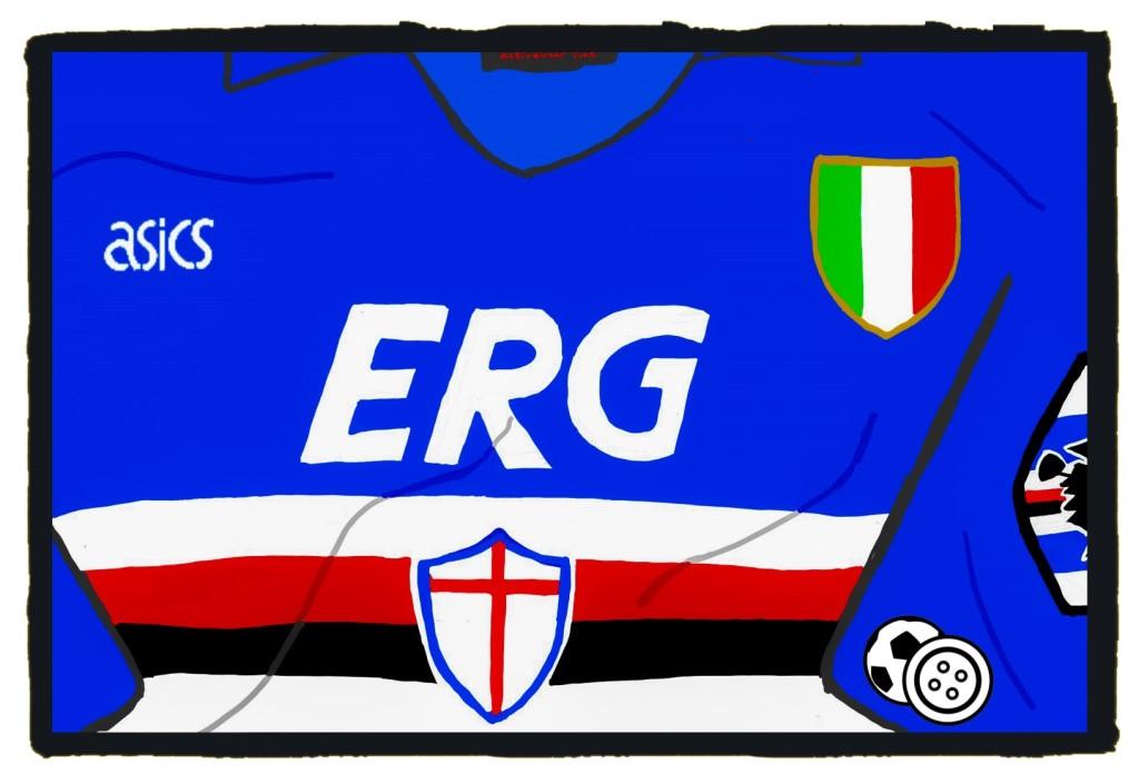 Sampdoria, 1990s, Asics, ERG, shirt