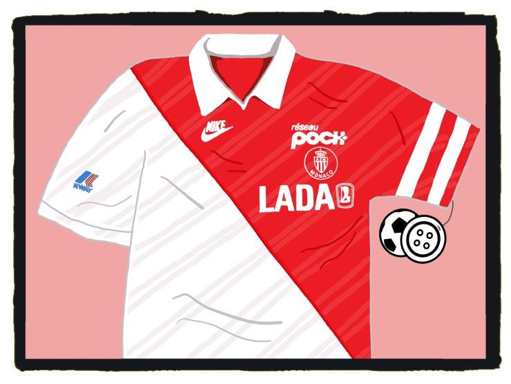 Monaco, Nike, 1989-90, Maillot, Shirt, Lada, Soccer,